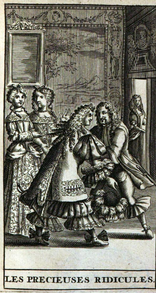 Frontispice des Précieuses ridicules, édition de 1682, dessin de Pierre Brissart gravé par Jean Sauvé.